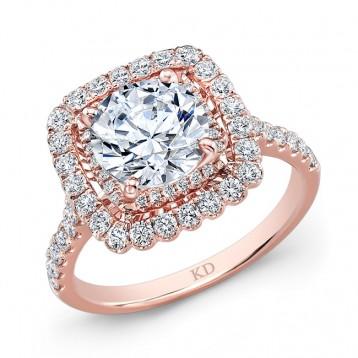ROSE GOLD SQUARE HALO DIAMOND ENGAGEMENT RING