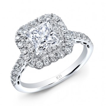 WHITE GOLD CLASSIC SQUARE HALO DIAMOND ENGAGEMENT RING