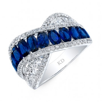 WHITE GOLD NATURAL COLOR FASHION SAPPHIRE WAVE DIAMOND RING
