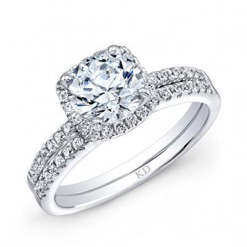WHITE GOLD CLASSIC  HALO DIAMOND BRIDAL SET