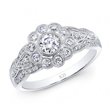 WHITE GOLD INSPIRED VINTAGE ROUND DIAMOND ENGAGEMENT RING