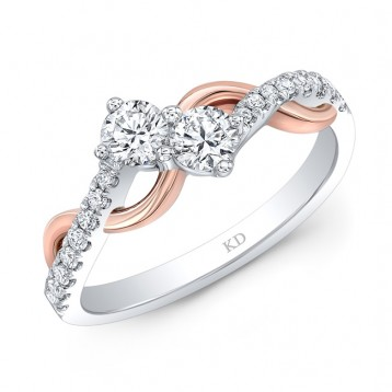 WHITE AND ROSE GOLD TWO-STONE INSPIRED TWISTED DIAMOND ENGAGEMENT RING