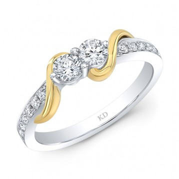 WHITE AND YELLOW GOLD TWO-STONE INSPIRED TWISTED DIAMOND ENGAGEMENT RING