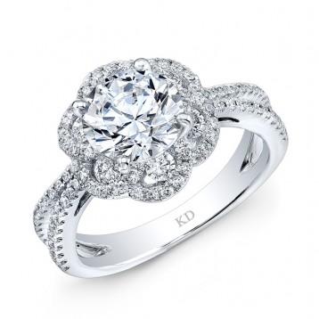 WHITE GOLD VINTAGE  HALO DIAMOND ENGAGEMENT RING