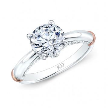 WHITE & ROSE GOLD INSPIRED FASHION DIAMOND ENGAGEMENT RING