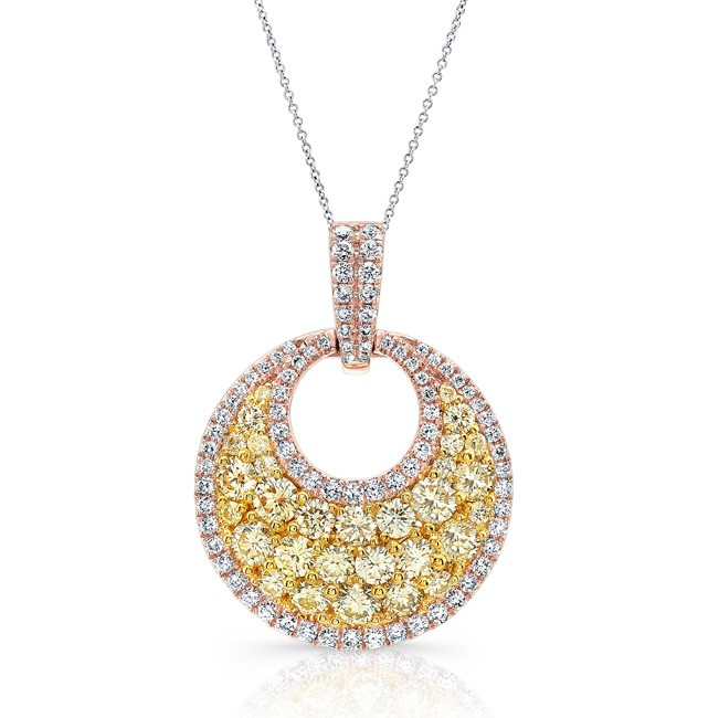 Rose gold contemporary fancy yellow round diamond cluster pendant mozeypictures Image collections