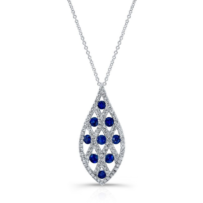 Natural color white gold contemporary sapphire diamond pendant contemporary sapphire diamond pendant zoom mozeypictures Choice Image