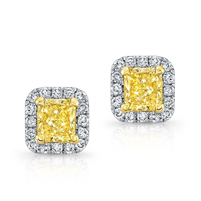 t diamond carat yellow w princess gold stud picture earrings of tw cut