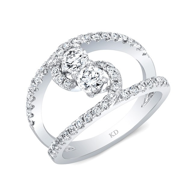WHITE GOLD TWO-STONE CONTEMPORARY DIAMOND ENGAGEMENT RING