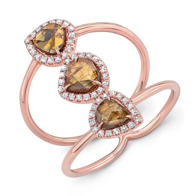 ROSE GOLD THREE- STONE DAZZLING ROUGH DIAMOND RING