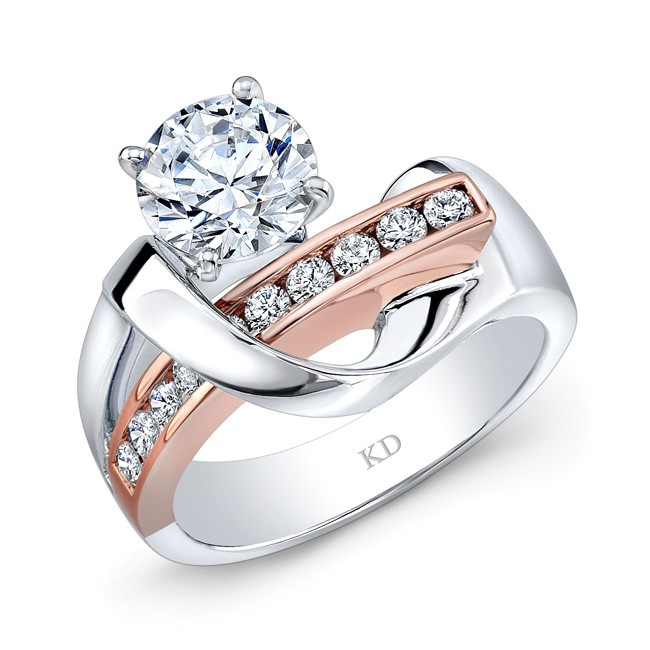 WHITE ROSE GOLD CONTEMPORARY SWIRLED DIAMOND ENGAGEMENT RING