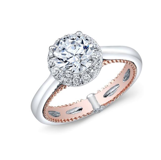 WHITE & ROSE GOLD FASHION HALO DIAMOND ENGAGEMENT SET