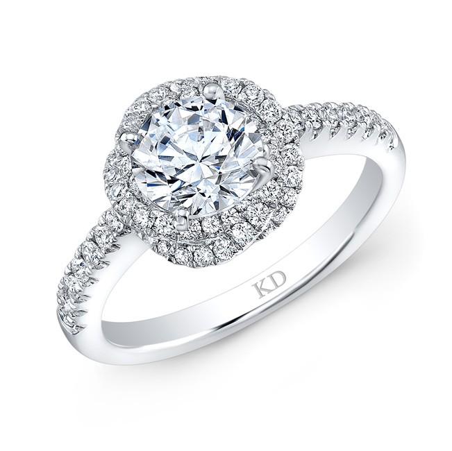 WHITE GOLD ROUND HALO SWIRLED DIAMOND ENGAGEMENT RING