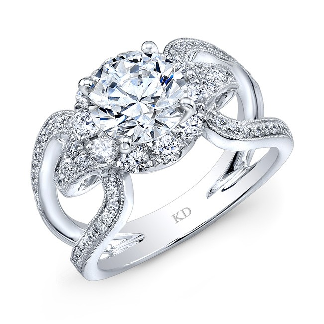 WHITE GOLD FASHION HALO DIAMOND ENGAGEMENT RING