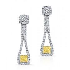 WHITE AND YELLOW GOLD ELEGANT FANCY YELLOW RADIANT DIAMOND EARRINGS