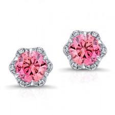 WHITE GOLD INSPIRED PINK ENHANCED ROUND DIAMOND HALO EARRINGS