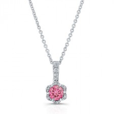 WHITE GOLD PINK ENHANCED ROUND DIAMOND FLOWER PENDANT