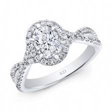 WHITE GOLD CONTEMPORARY OVAL HALO DIAMOND ENGAGEMENT RING
