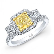 WHITE AND YELLOW GOLD ELEGANT FANCY YELLOW DIAMOND  RING