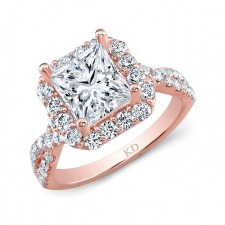 ROSE GOLD CONTEMPORARY SQUARE HALO DIAMOND ENGAGEMENT RING
