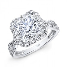 WHITE GOLD TWIST SHANK SQUARE HALO DIAMOND ENGAGEMENT RING