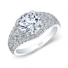 WHITE GOLD VINTAGE HALO ROUND DIAMOND ENGAGEMENT RING