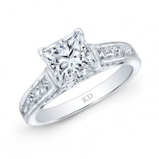 WHITE GOLD BEZEL DIAMOND ENGAGEMENT RING