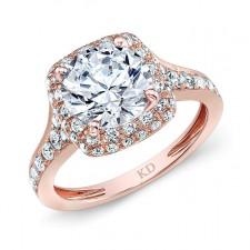 ROSE GOLD CLASSIC SQUARE HALO DIAMOND ENGAGEMENT RING