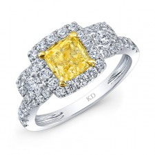 WHITE AND YELLOW GOLD FANCY YELLOW DIAMOND ENGAGEMENT RING