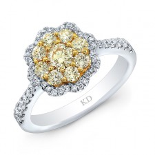 WHITE GOLD NATURAL YELLOW CLUSTER DIAMOND FLOWER RING