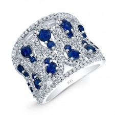 NATURAL COLOR WHITE GOLD VINTAGE SAPPHIRE DIAMOND BAND