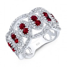 NATURAL COLOR WHITE GOLD FASHION RUBY DIAMOND RING