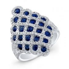 NATURAL COLOR WHITE GOLD CONTEMPORARY SAPPHIRE DIAMOND RING