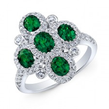 NATURAL COLOR WHITE GOLD FASHION EMERALD FLOWER DIAMOND RING