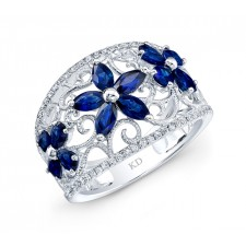 WHITE GOLD NATURAL COLOR VINTAGE SAPPHIRE DIAMOND RING