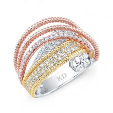 WHITE &ROSE & YELLOW GOLD TRI COLOR DAZZLING FASHION DIAMOND RING