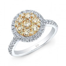WHITE GOLD NATURAL YELLOW CONTEMPORARY CLUSTER DIAMOND RING