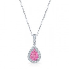 WHITE GOLD ELEGANT PINK ENHANCED PEAR DIAMOND PENDANT
