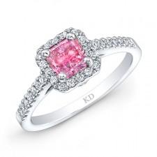 WHITE GOLD CLASSIC PINK ENHANCED RADIANT DIAMOND ENGAGEMENT RING