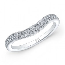 14K DUAL ROWS WHITE DIAMOND WEDDING BAND