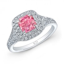 WHITE GOLD ELEGANT PINK ENHANCED RADIANT DIAMOND ENGAGEMENT RING
