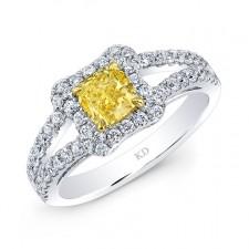 WHITE AND YELLOW GOLD FANCY YELLOW ELEGANT DIAMOND  RING