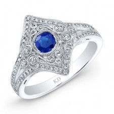 NATURAL COLOR WHITE GOLD INSPIRED VINTAGE SAPPHIRE RING