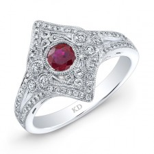 NATURAL COLOR WHITE GOLD INSPIRED VINTAGE RUBY RING