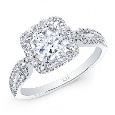 WHITE GOLD CUSHION HALO DIAMOND ENGAGEMENT RING