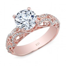 ROSE GOLD DAZZLING SWIRLED DIAMOND ENGAGEMENT RING