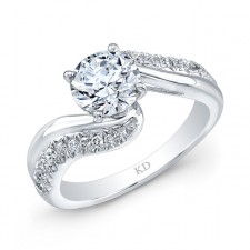 WHITE GOLD INSPIRED SWIRLED DIAMOND ENGAGEMENT  RING