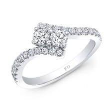 WHITE GOLD TWO-STONE INSPIRED DIAMOND ENGAGEMENT RING