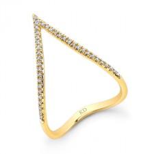 YELLOW GOLD STYLISH CURVED V DIAMOND RING