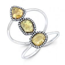 WHITE GOLD THREE- STONE DAZZLING ROUGH DIAMOND RING